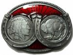 Indian and Buffalo Coins in Horseshoes Belt Buckle. Code TS4